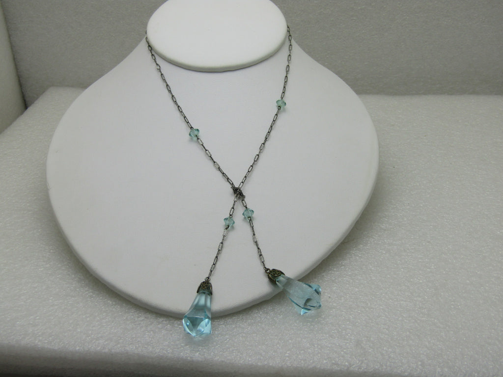 "Vintage Aqua Rhinestone Open-Ended Necklace, Dangles, 19"", Silver Tone 1930's-1940's"