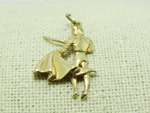 "Vintage Solid 14kt Matador Charm, Bullfighter with Cape and Sword, 2.69gr, 1.25"", 1960's"