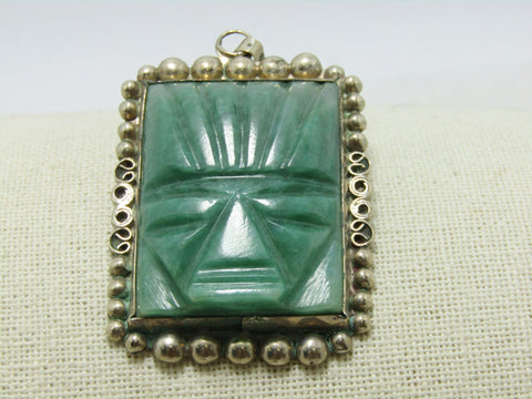 Vintage Sterling Carved Tribal Pendant Brooch, Aventurine, 36.40 gr., 1970's-1980's, 2.75""