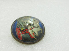 Vintage Glass Horse Bridle Button/Rosette Brooch, Horse & Wagon, early 1900's