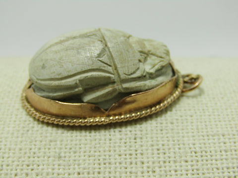 "14kt Egyptian Carved Scarab Pendant, 1.5"", 13.67 grams"