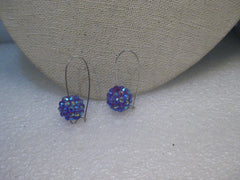 "Raspberry Aurora Borealis Pierced Earrings, Beaded on Long Wire, 1.5"" Long"