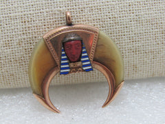 14kt Egyptian Revival Tiger's Claws Pendant, King Tut, Sphinx, Turquoise, Lapis, , York, PA, 1900's