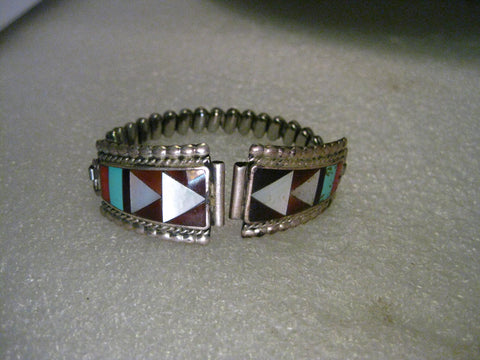 Vintage Zuni Inlaid Watch Tip, MOP, Turquoise, Coral, Horn/Shell, signed ZME Zuni, NM, Zeno & Maryann Edlaaki