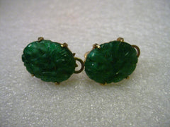 Vintage Gold Tone Carved Jade Like Clip Earrings, signed  Marvella - Asian Theme