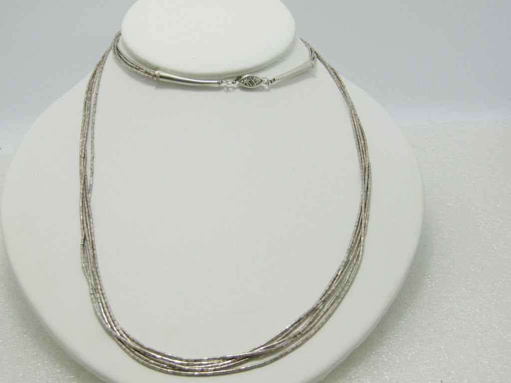 "Sterling Silver Multi-Strand Necklace,  Southwestern, Liquid Silver, 30"", 5 Strands, 16.85grams"