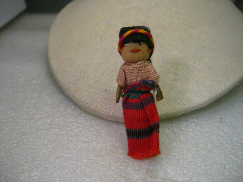 Vintage Hand Made Ethic Fabric Doll Brooch, Colombia/Peruvian 2.5""