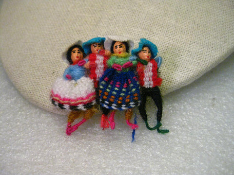 Vintage Hand Made Ethic Wool Woven &  Wrapped Doll Brooch, 2 Men, 2 Women, 1.5""