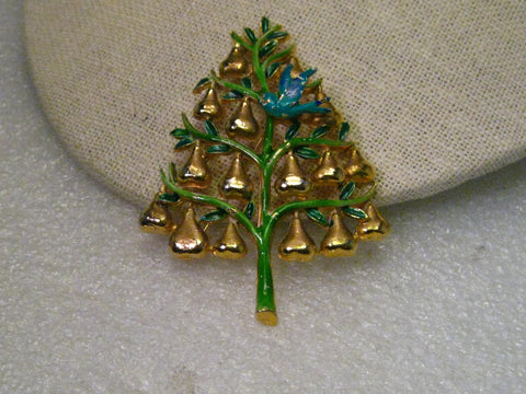 Vintage Gold Tone Enameled Partridge in a Pear Tree Enameled Brooch, signed Cadoro, Mid-Century
