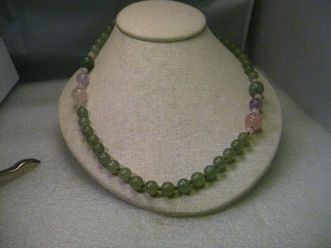 "Vintage 30"" Green & Rose Quartz Beaded Necklace, 8-12mm, Knotted Between Beads"