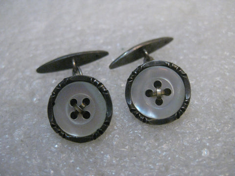 Vintage Sterling Silver Button Cuff Links, 1930's-1940's - Unisex