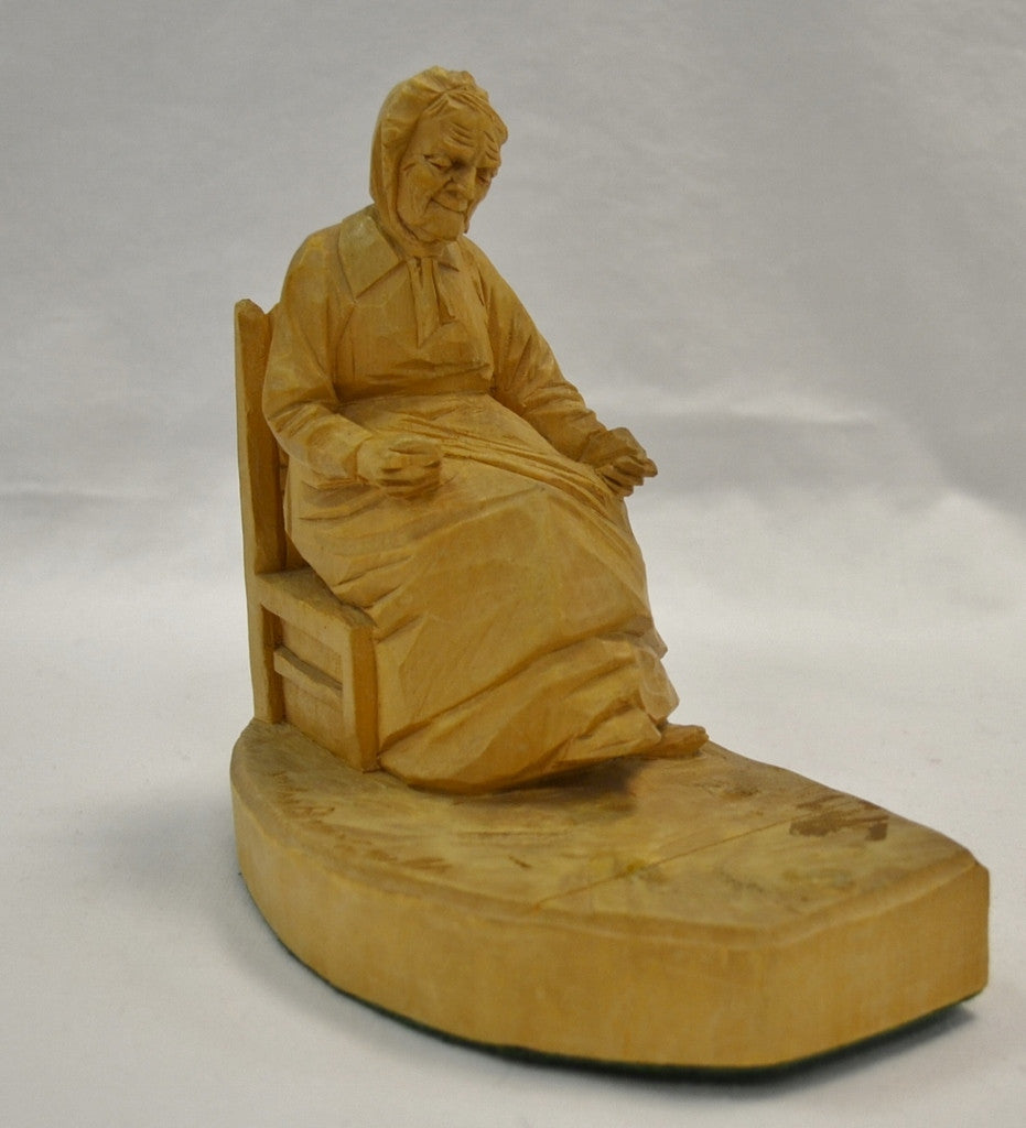 Old lady bookend wood carving by Andre Bougault