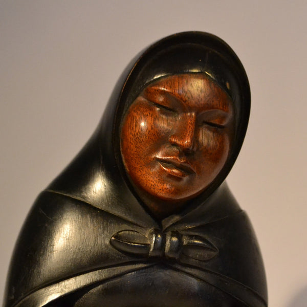 Native american woman carving by A. Ramireza