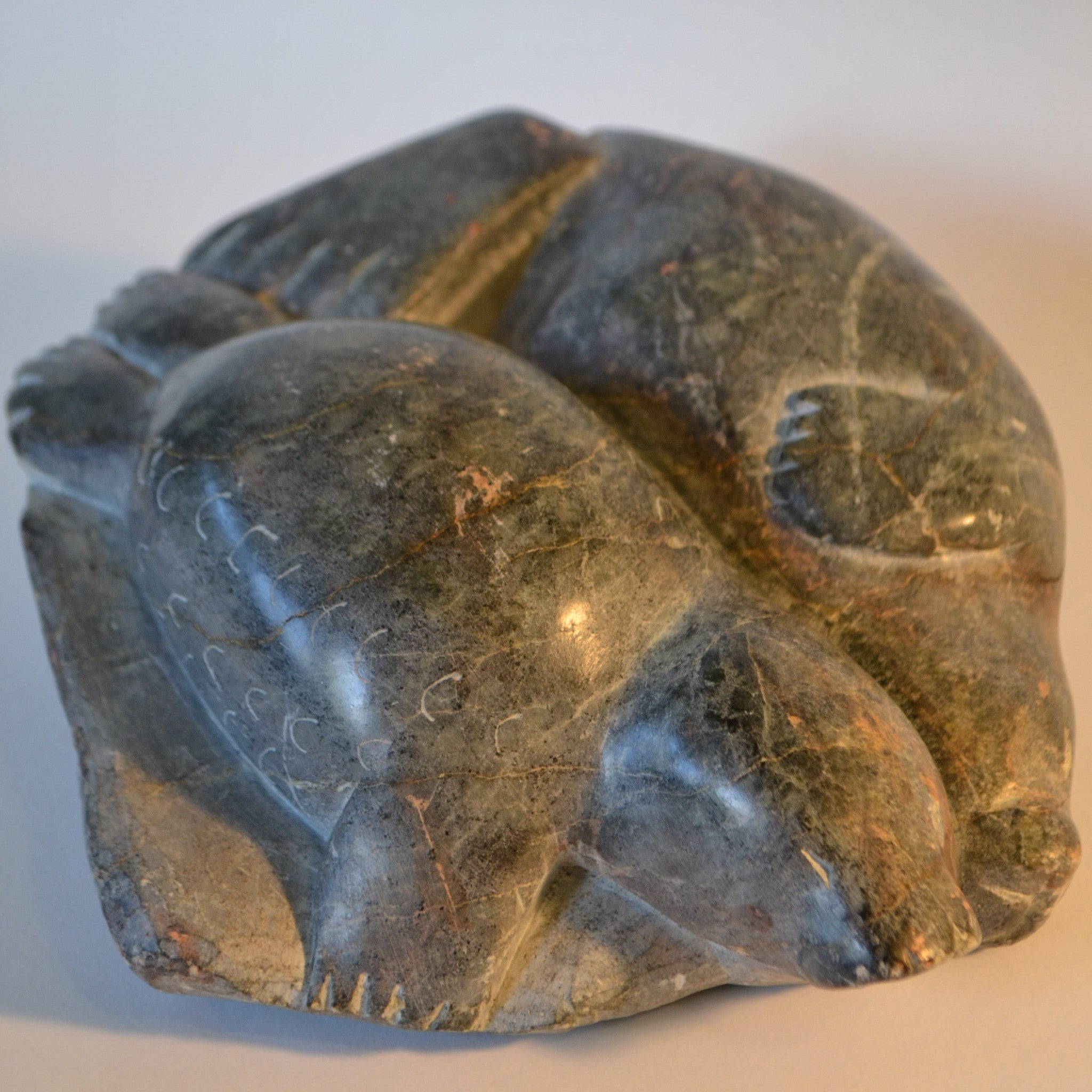 Inuit carving sealion pair