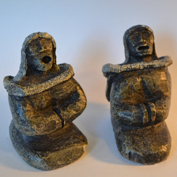 Inuit carvings man and woman singing