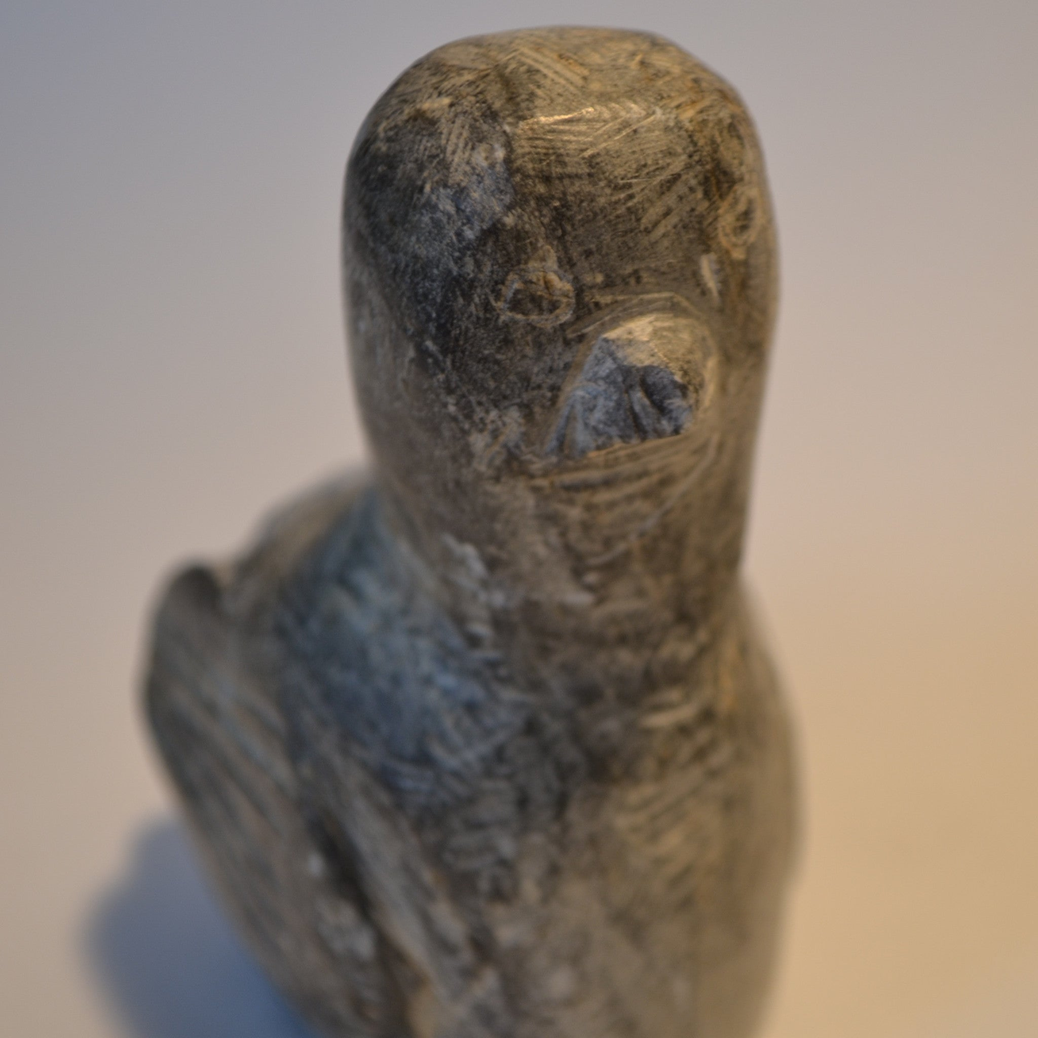 Primitive bird with lines carving