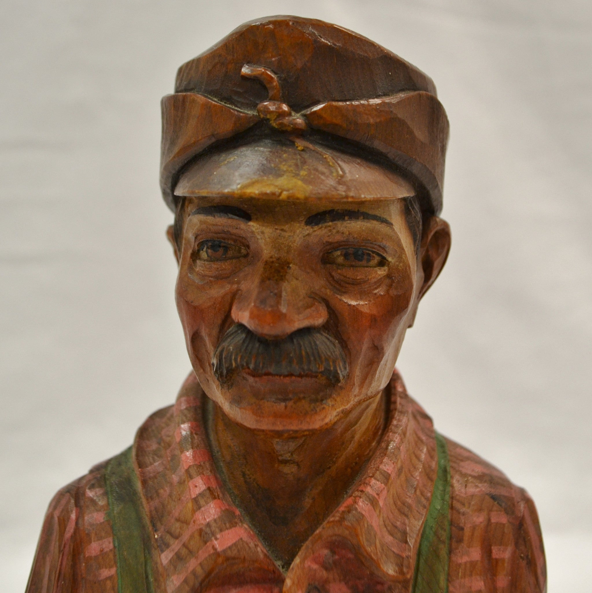 lumberjack bust wood carving by Duquet