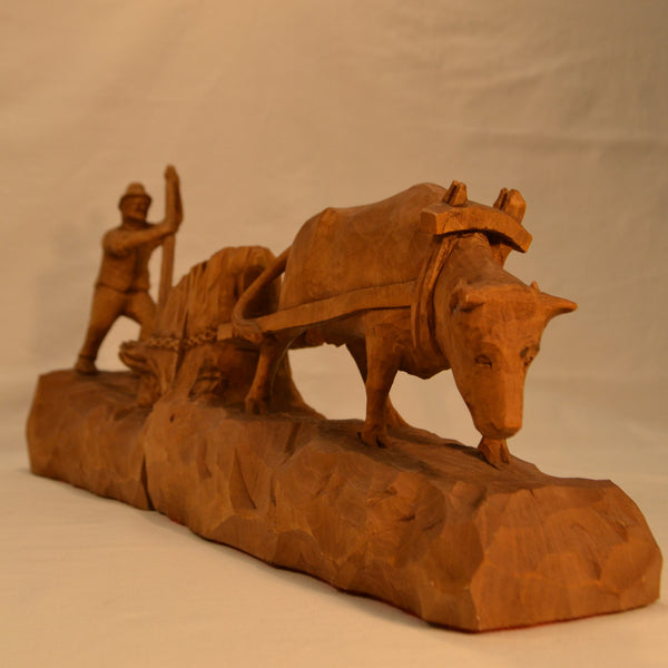 Oxen pulling stump folk art wood carving front