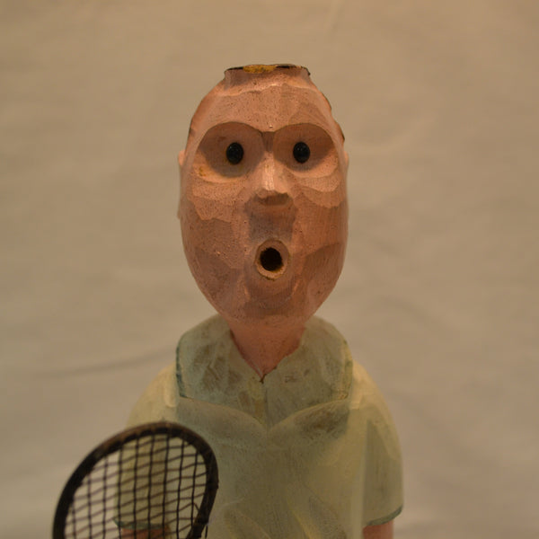 Tennis Player Folk Art carving - face - Langford Gallery