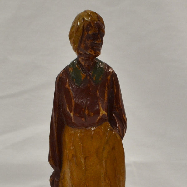 Old Woman in Red Folk Art Carving
