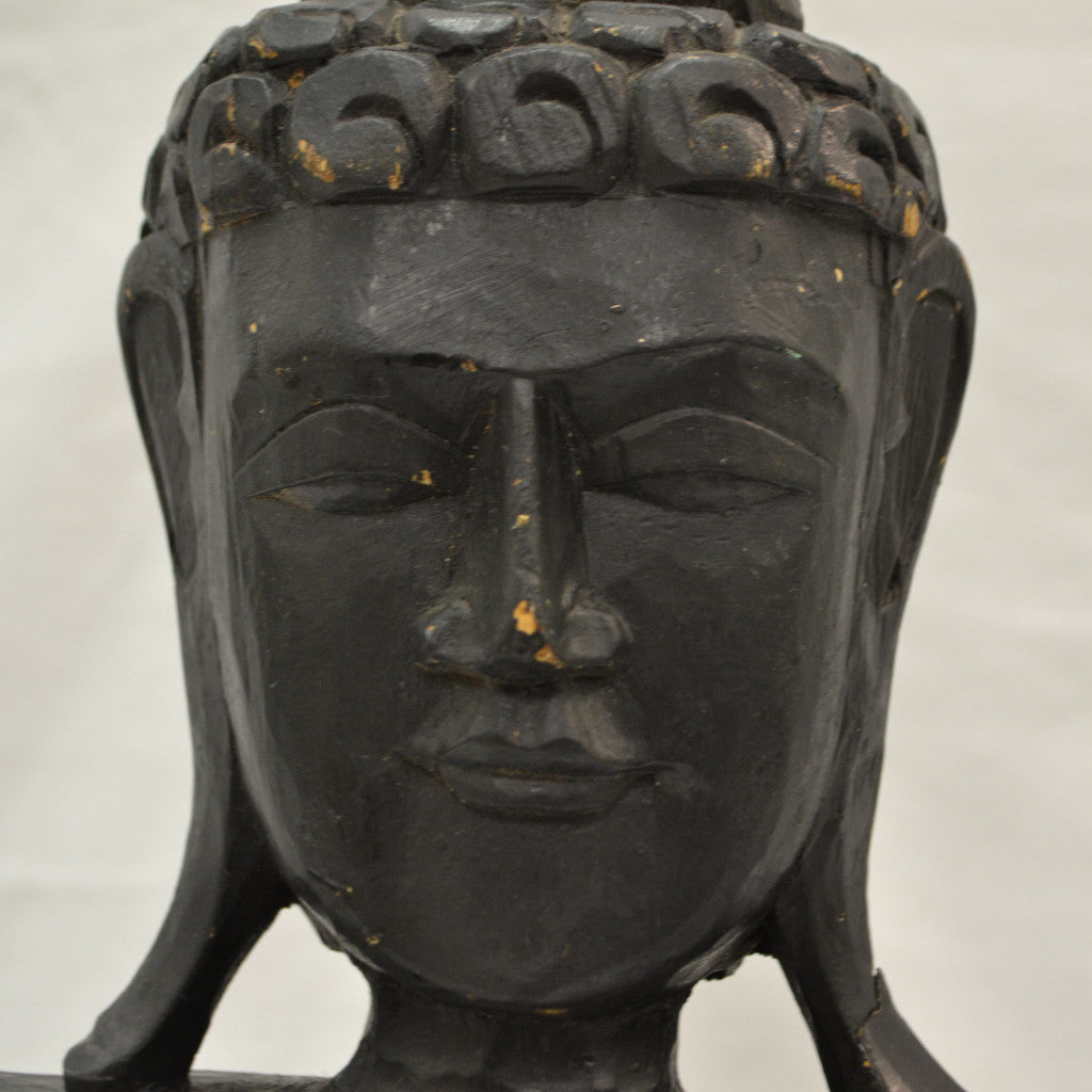 Hand Carved Black Buddha - face