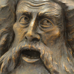 Neptune Burl Carving by Cloutier - face close up