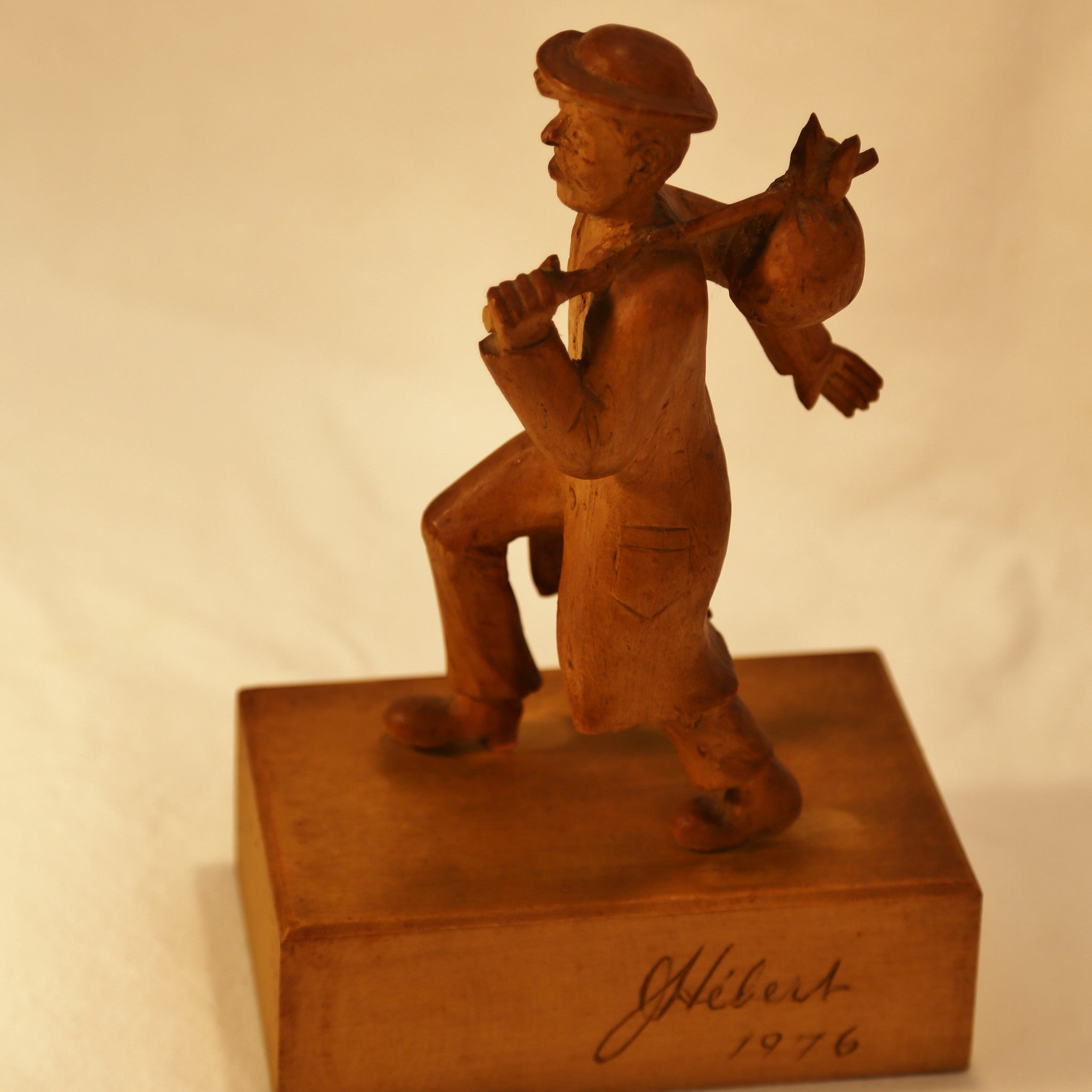 Walking hobo wood carving