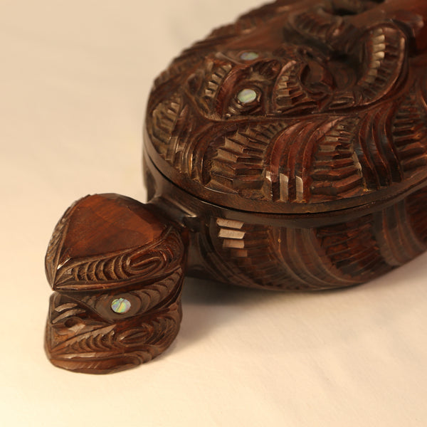 Maori Wood Treasure Box face