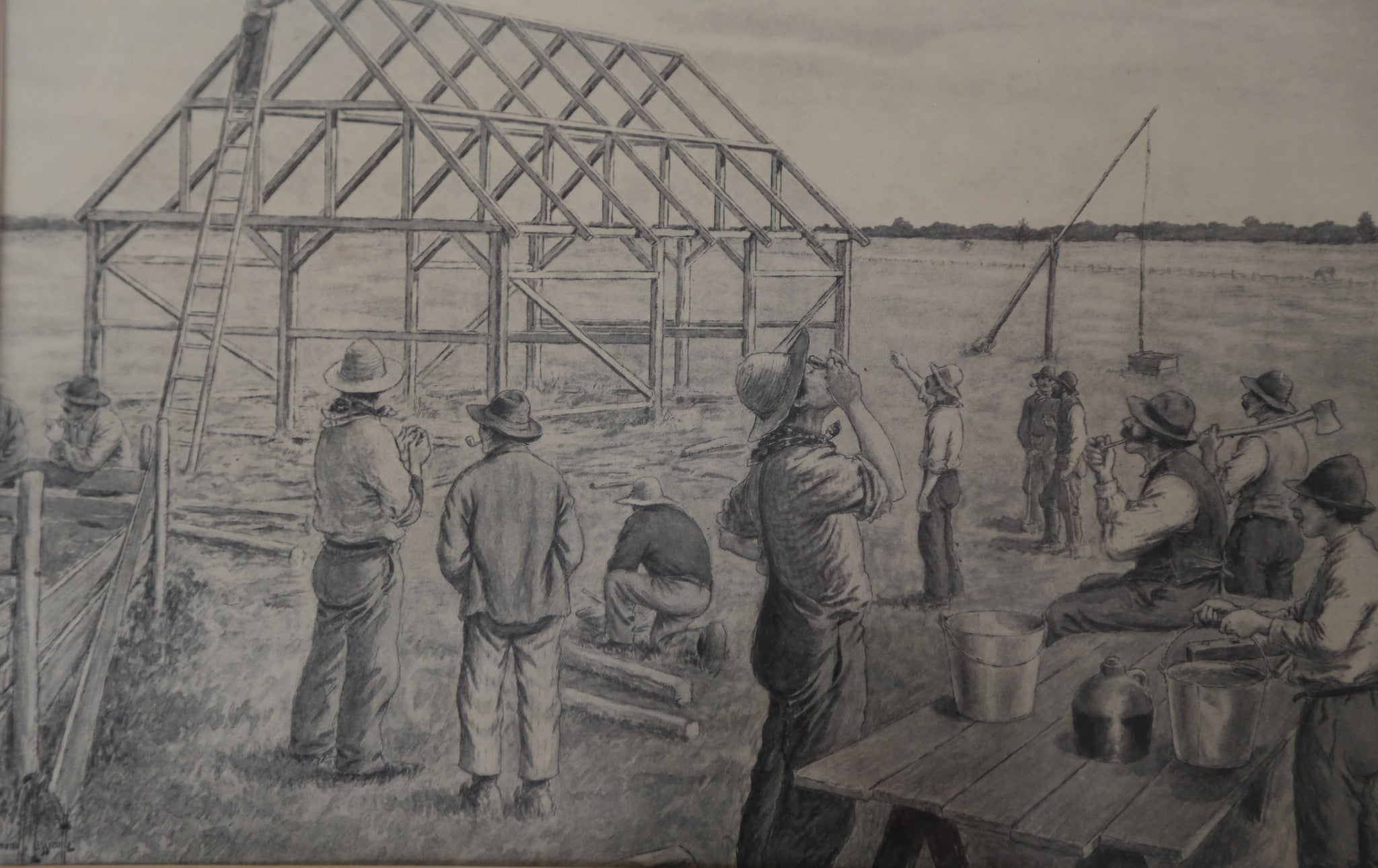 Barn Raising sketch by Edmond Massicotte