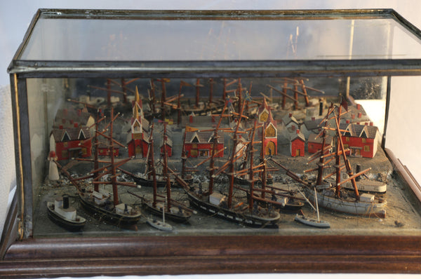 Tall ships in port diorama