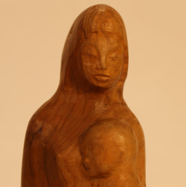 Mother with 2 children wood folk art carving