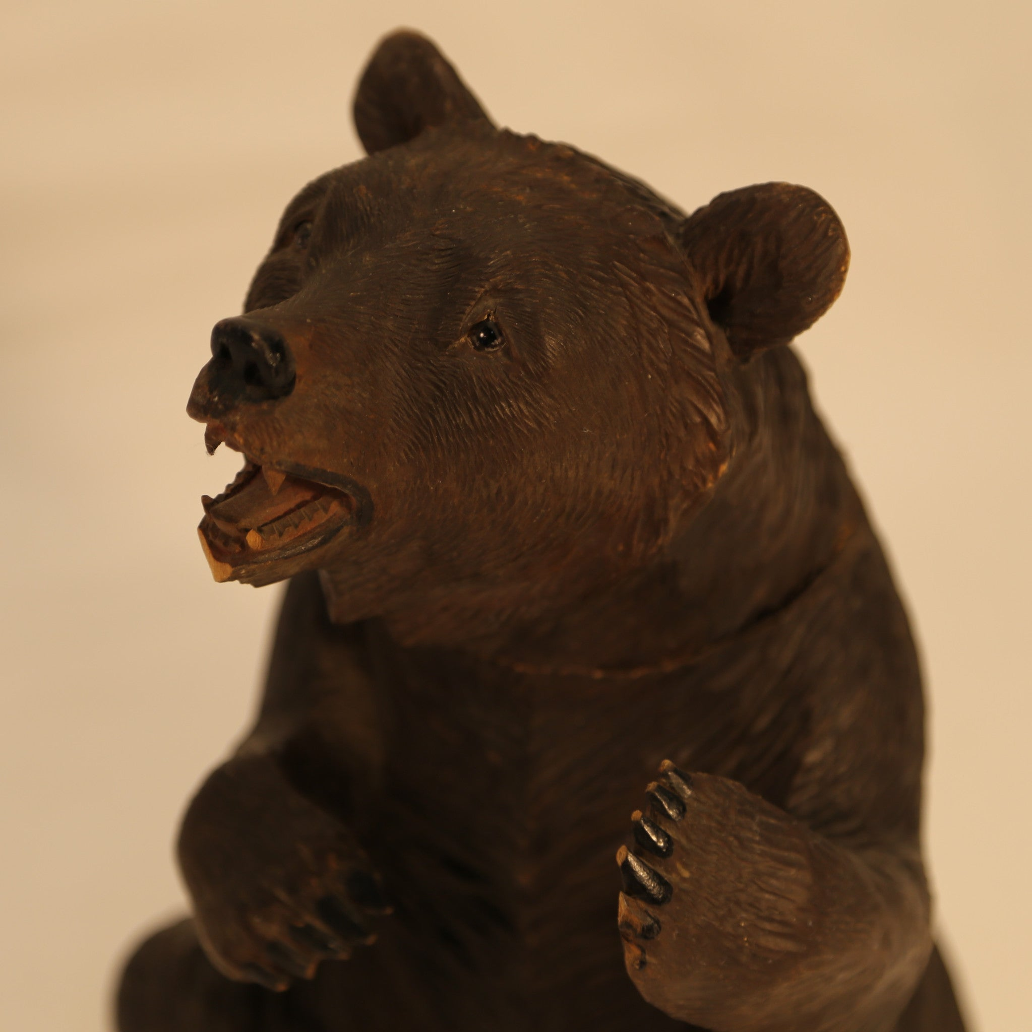 German Wood Bear Cookie Jar Carving Folk Art
