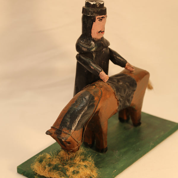 Horse and rider wood folk art by Emile Bluteau