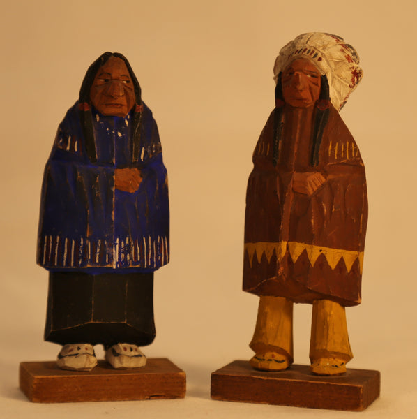 Native Chief and Wife Folk Art Carvings