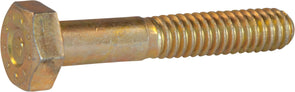 7/8-9 x 2 1/2 L9 Hex Cap Screw Yellow Zinc Plated Domestic USA (85) - FMW Fasteners