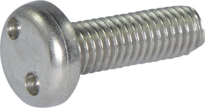 M4-0.7 x 6  Tamper Resistant Drilled Spanner Pan Head Machine Screw 18-8 Stainless Steel - Metric (#8) - FMW Fasteners