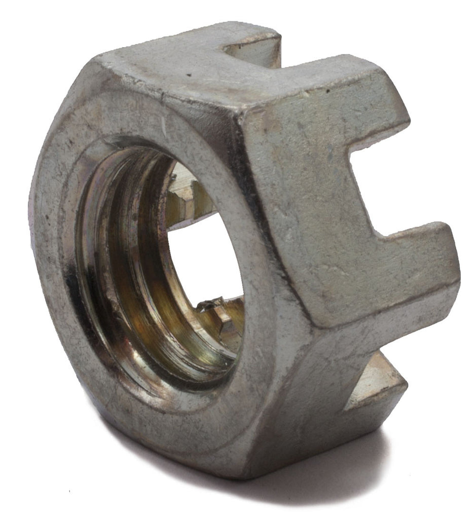 1 1/2-6 Slotted Hex Nut Zinc Plated - FMW Fasteners
