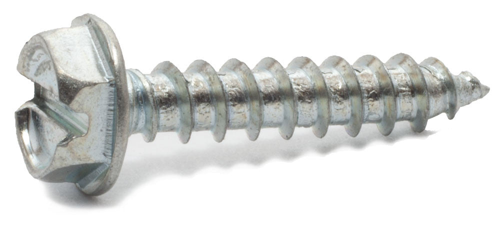 10 x 2 Slotted Hex Washer Head Sheet Metal Screw Zinc Plated - FMW Fasteners