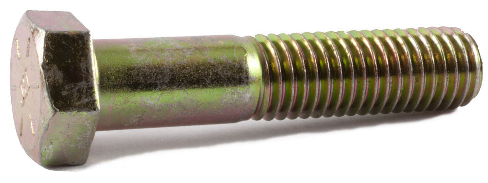 1/4-28 x 3/4 Grade 8 Hex Cap Screw Yellow Zinc Plated Domestic USA (100) - FMW Fasteners