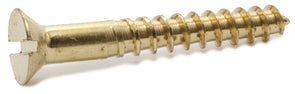 3 x 3/8 Slotted Flat Wood Screw Brass - FMW Fasteners