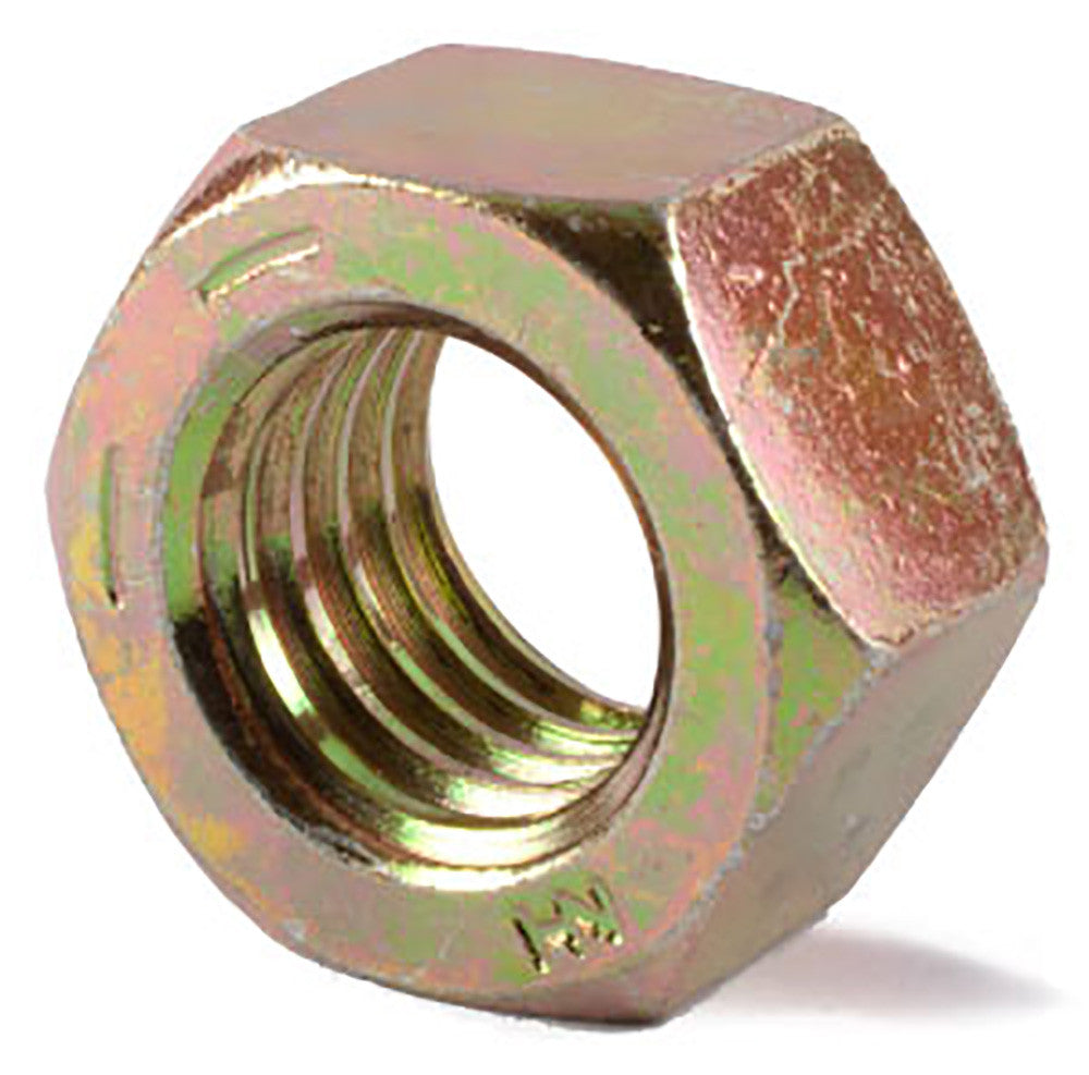 3/8-24 Grade 8 Finished Hex Nut Yellow Zinc Plated - FMW Fasteners