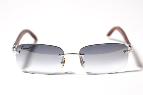 Cartier Logo Wood Rimless Platine