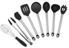 Elite KitchenwareTM Stainless Steel Kitchen Utensils, 8 Piece Silicone Cooking Utensil Set With Turner Spatula, Serving Spoon, Pasta Server, Flex Spatula, Deep Ladle, 2 Stage Whisk, Strainer & Tongs