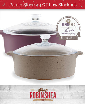 Robin Shea's Pareto Stone 2.4 QT Low Stockpot w/ Glass Lid