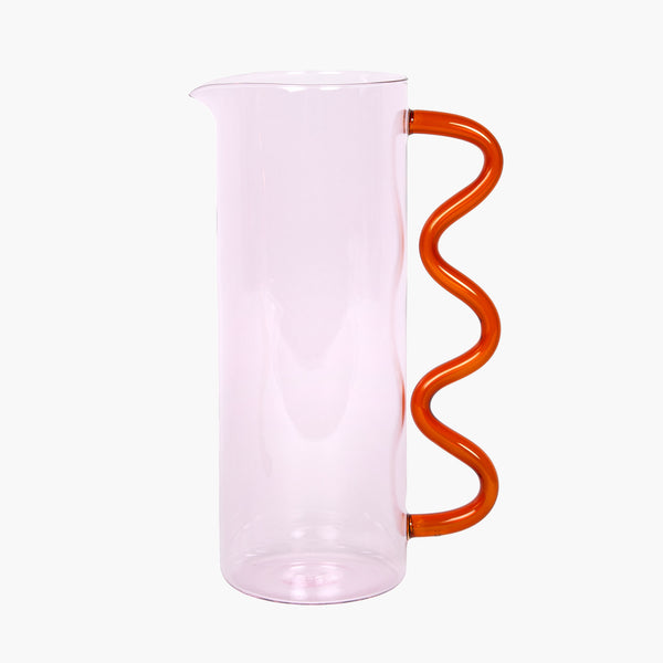Wave Pitcher - Pink/Amber