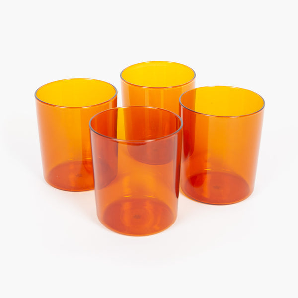 Amber Glass Cups - Set of 4