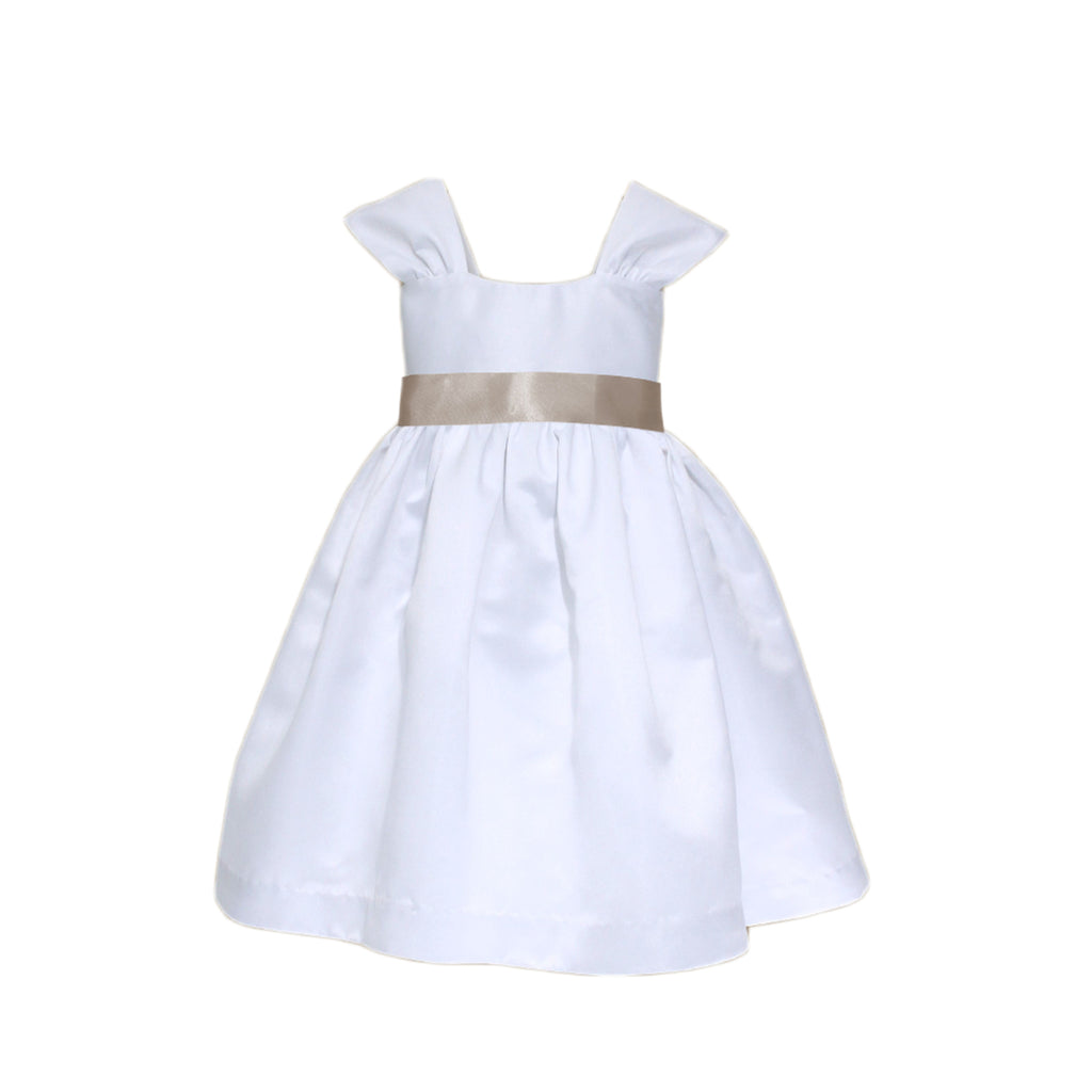 Soufflé Satin Dress | White