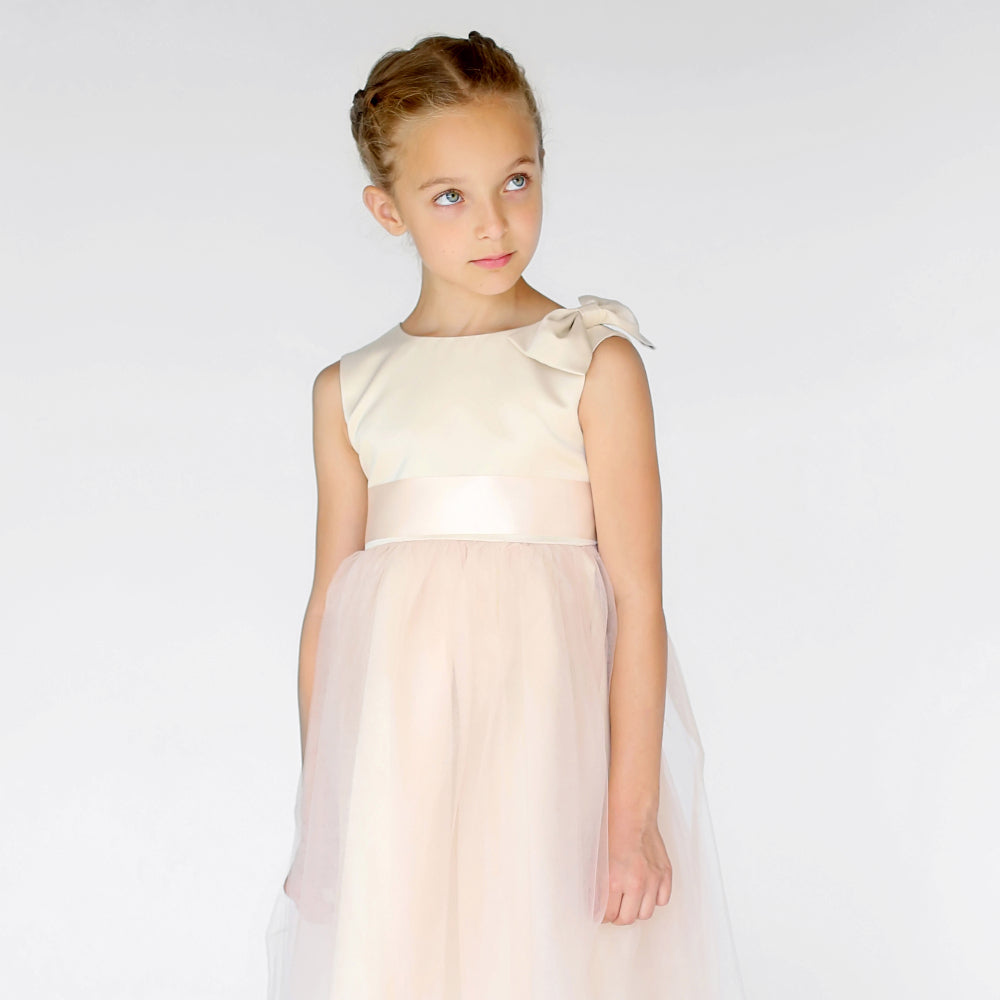 Girls Meringue Tulle Dress Champagne