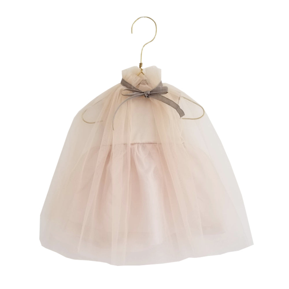 Doll's Meringue Dress with Cape  Champagne