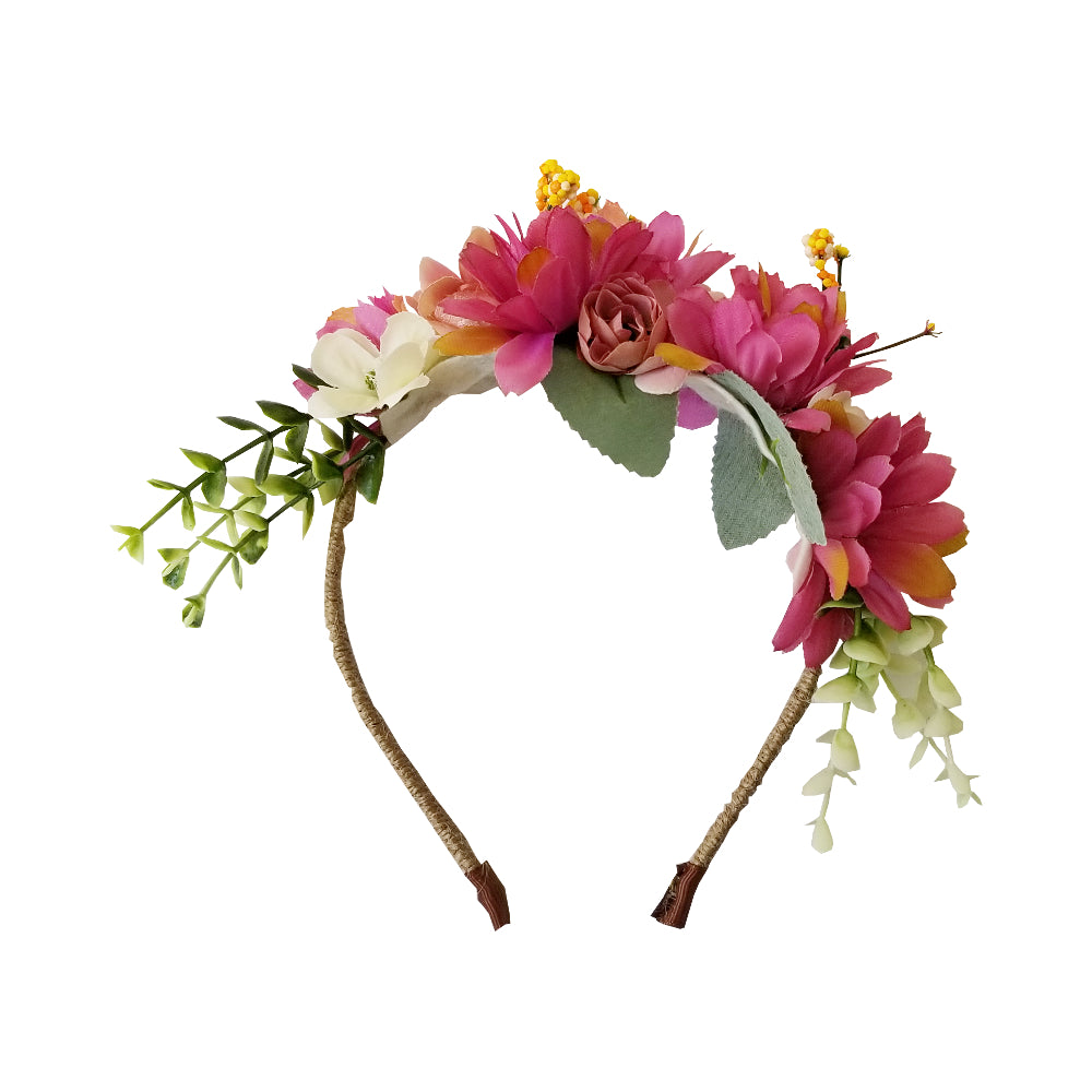 Girls Raspberry Flower Headband